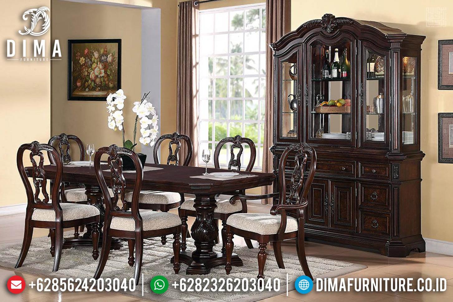 New Desain Interior Meja Makan Klasik Minimalis Natural Jati Perhutani Jepara MMJ-0707