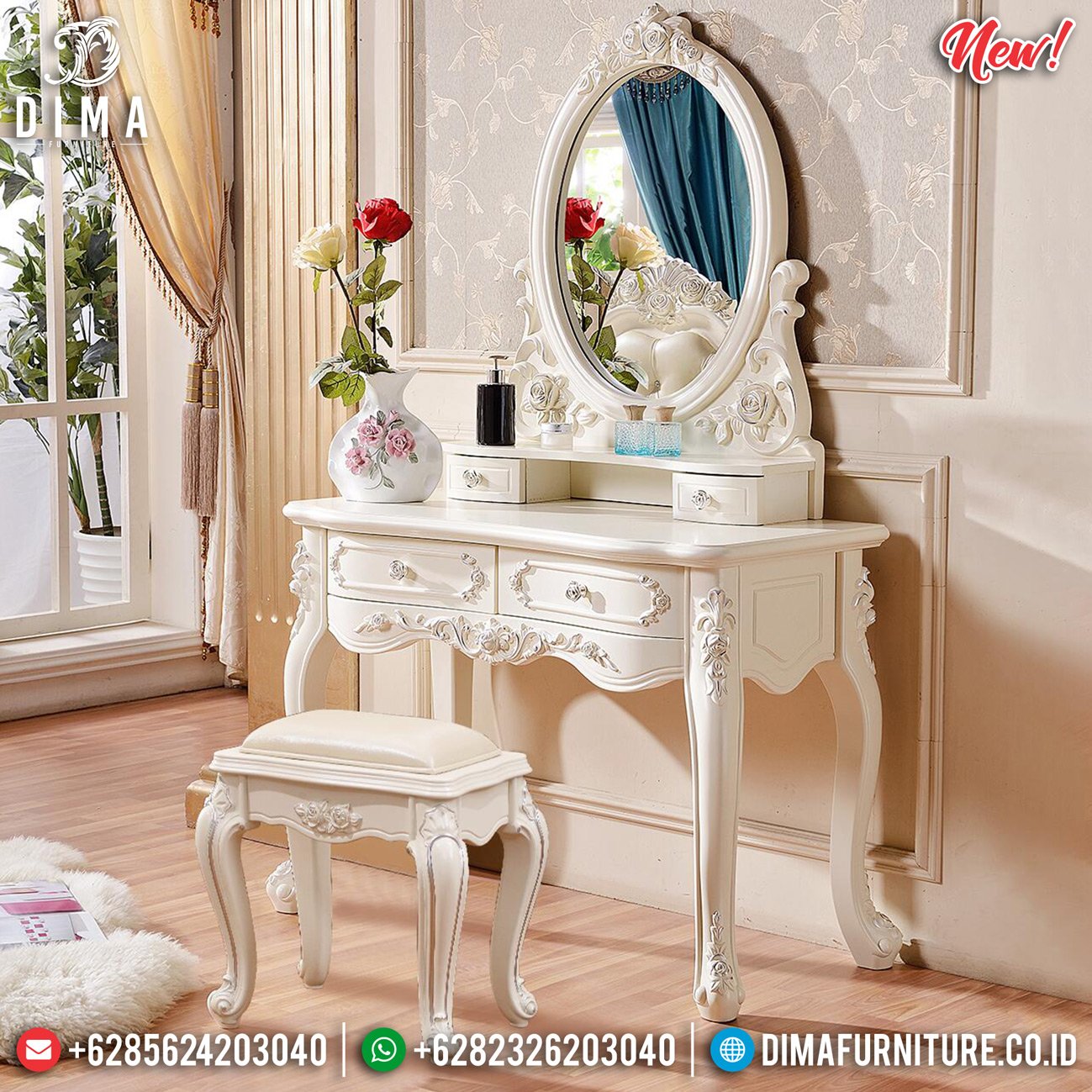 New Model Meja Rias Ukir Jepara Luxury Classic Antique Interior MMJ-0781