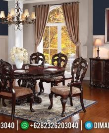 Ocean Style Meja Makan Klasik Jati Luxury Carving Natural Salak Color MMJ-0701