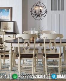 Set Meja Makan Jati 6 Kursi Minimalis Rustic French Style Furniture MMJ-0709