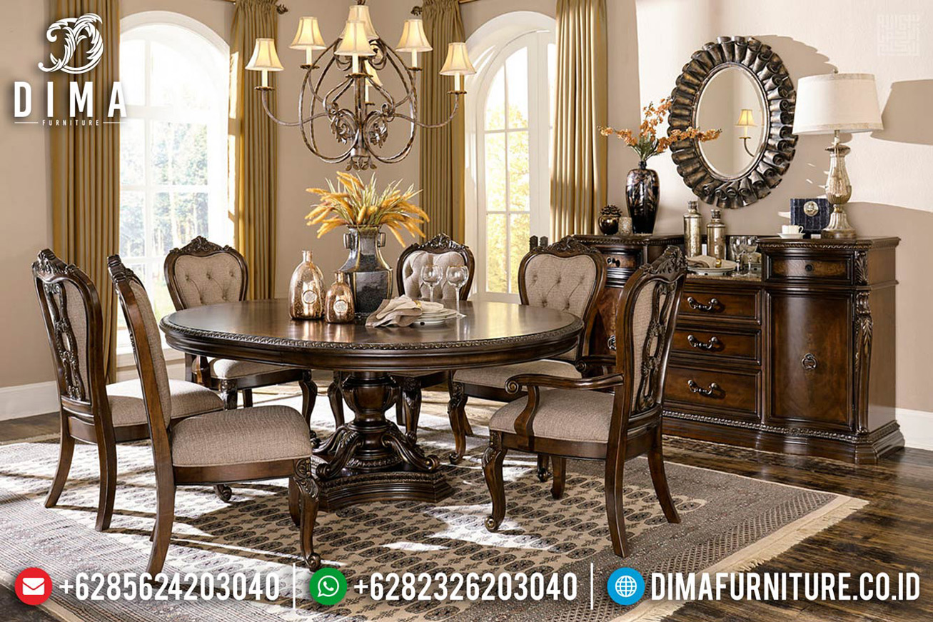 Set Meja Makan Klasik Jati Luxury Carving New Design Interior Italian Klasik MMJ-0706