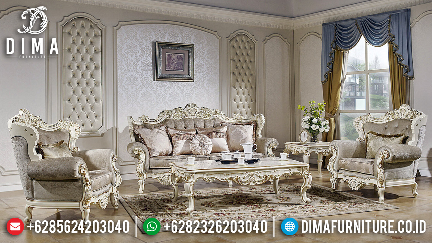 Dominique Sofa Tamu Ukiran Mewah Baroque Unique Desain Great Solid Wood MMJ-0834