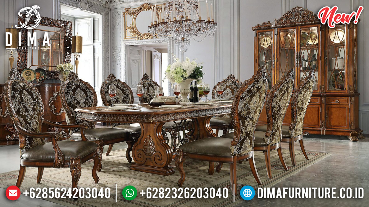 Harga Meja Makan Klasik Kayu Jati Natural Luxury Carving Ukiran Mewah MMJ-0888