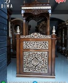 Jual Mimbar Kubah Jati Ukiran Klasik Luxury Desain Inspiring MMJ-0847