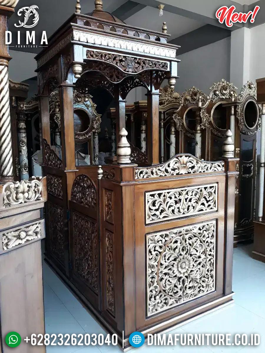 Jual Mimbar Kubah Jati Ukiran Klasik Luxury Desain Inspiring MMJ-0847 Detail 1