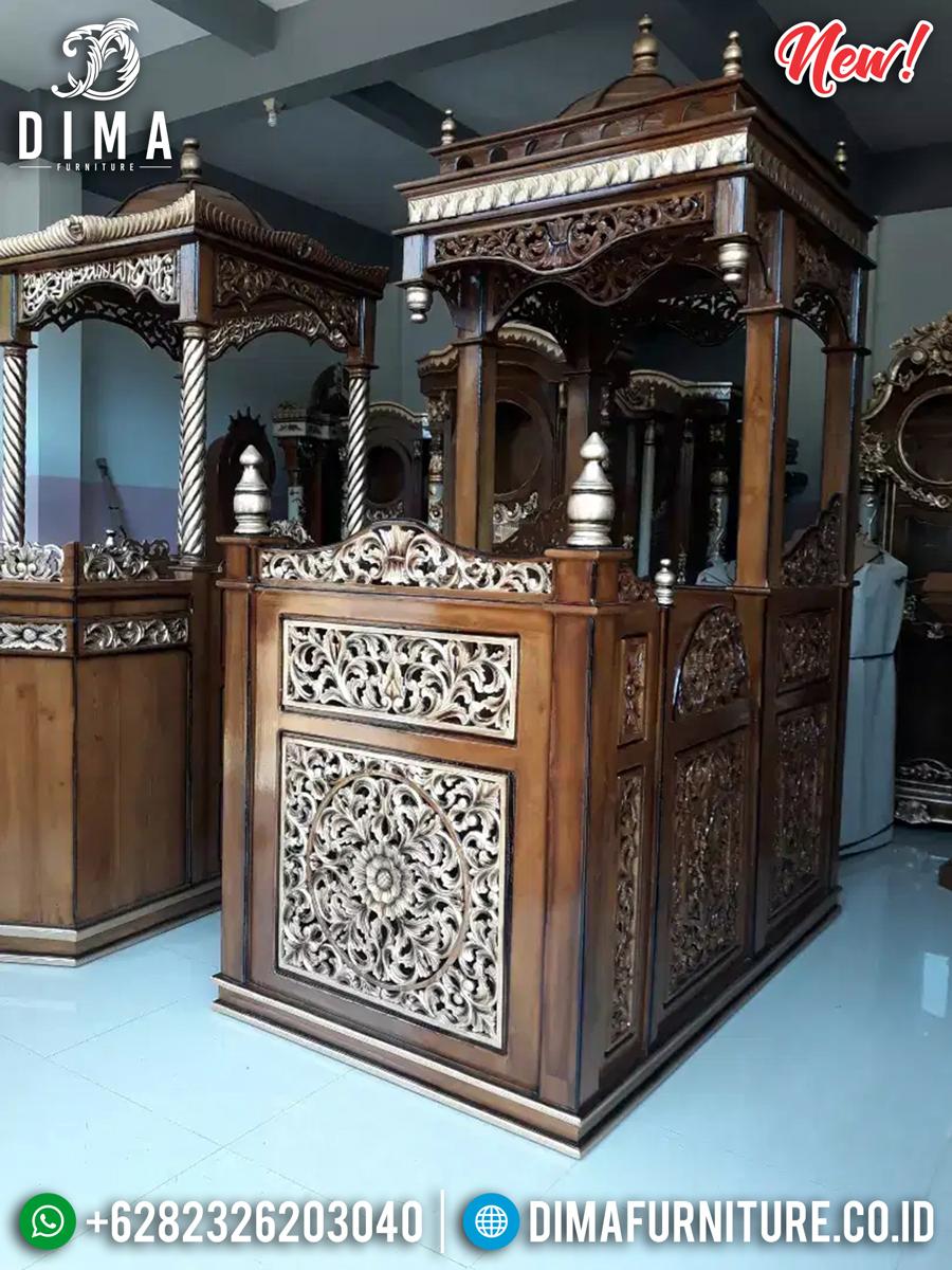Jual Mimbar Kubah Jati Ukiran Klasik Luxury Desain Inspiring MMJ-0847 Detail 2