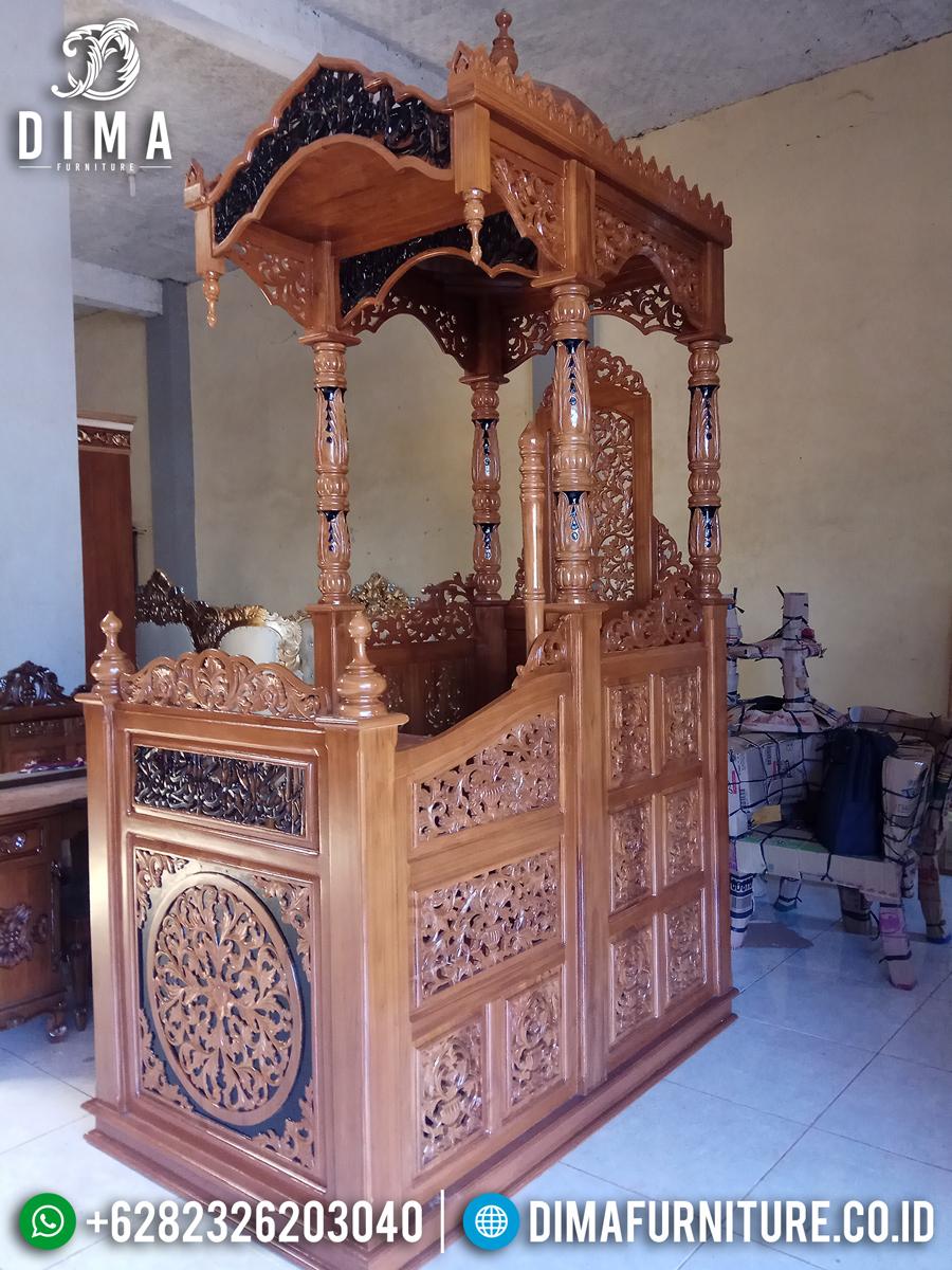 Jual Mimbar Masjid Ukiran Kaligrafi Jepara Luxury New Desain Terkini MMJ-0839 Detail 1