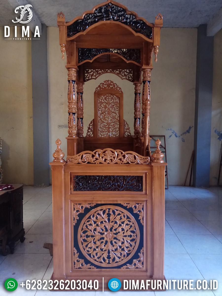 Jual Mimbar Masjid Ukiran Kaligrafi Jepara Luxury New Desain Terkini MMJ-0839