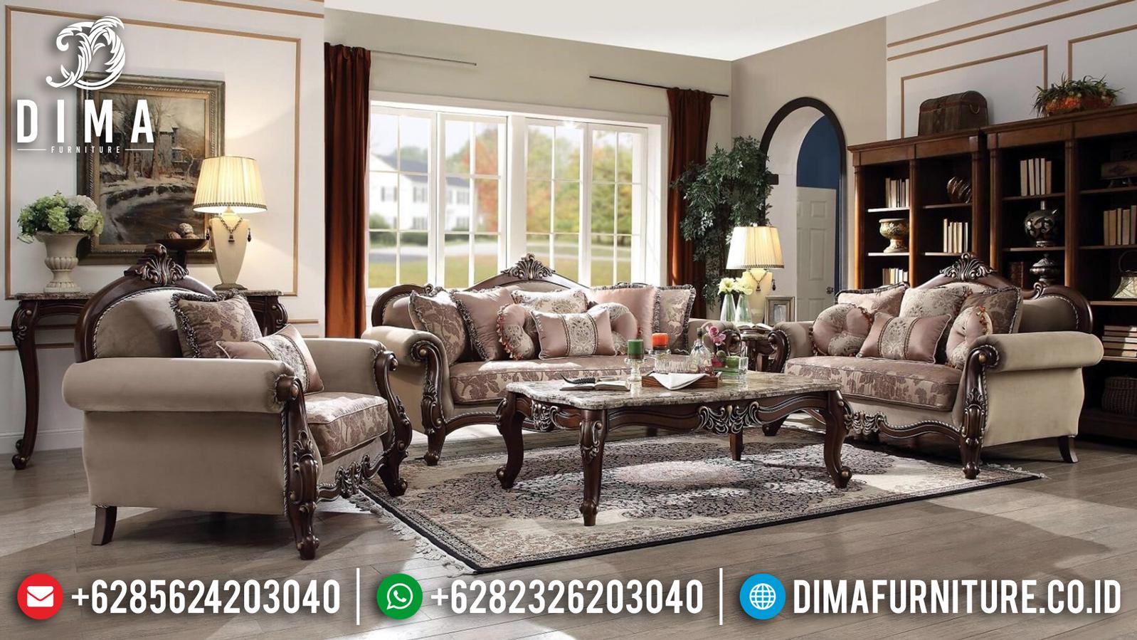 Jual Sofa Tamu Mewah Ukiran Luxury Klasik Natural Jati Perhutani Jepara MMJ-0832