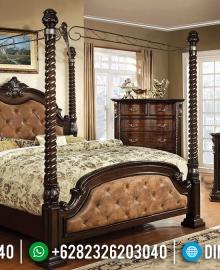Jual Tempat Tidur Jati Klasik Natural Perhutani Europe Kingdom Design MMJ-0902