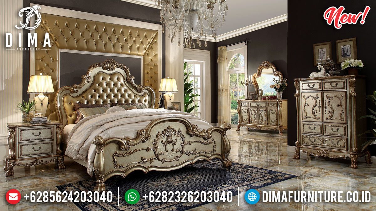 Kamar Set Mewah Ukiran Jepara Gold Shine Color Luxury Carving Glamorous MMJ-0905