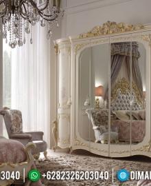 Lemari Pakaian Mewah Ukiran Jepara Putih Duco New Luxury Elite MMJ-0861