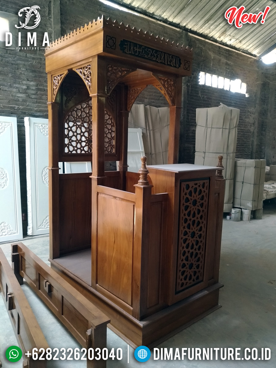 Mimbar Masjid Jepara Natural Jati Ukiran Luxury Mebel Jepara MMJ-0860