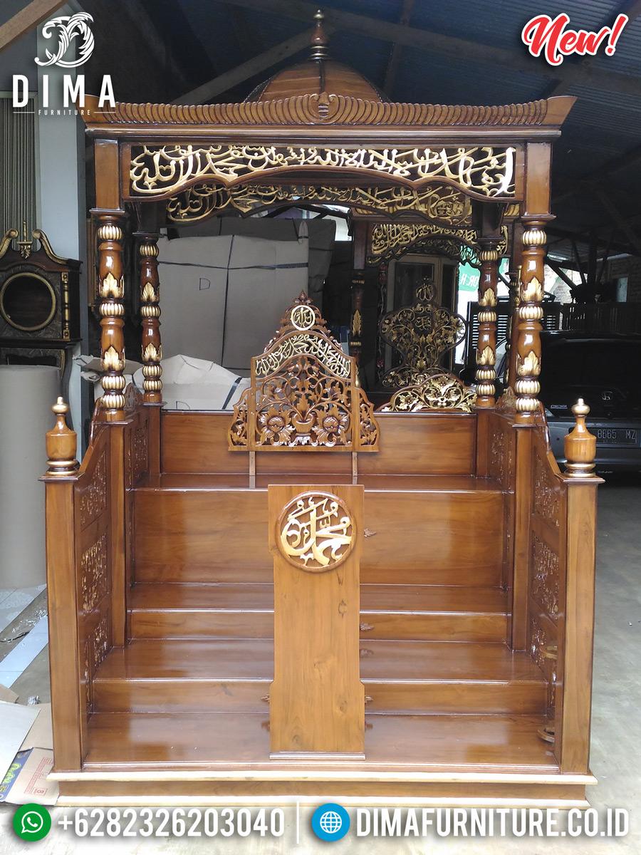 Mimbar Masjid Kayu Jati Perhutani Desain Luxury New Style Mebel Jepara MMJ-0857