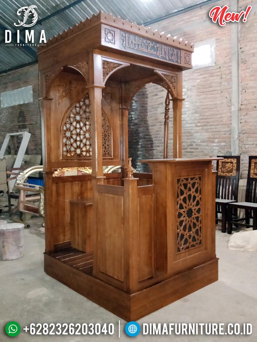 Mimbar Masjid Kubah Kayu Jati Natural Luxury Klasik Mebel Jepara Terbaru MMJ-0850 Detail 1