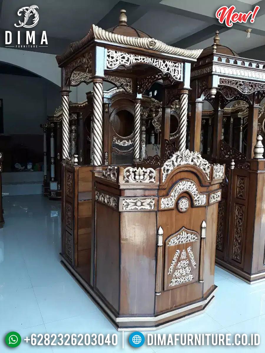 Mimbar Masjid Mewah, Mimbar Khotbah Kaligrafi, Ukiran Kaligrafi Jepara New Luxury MMJ-0842 Detail 1
