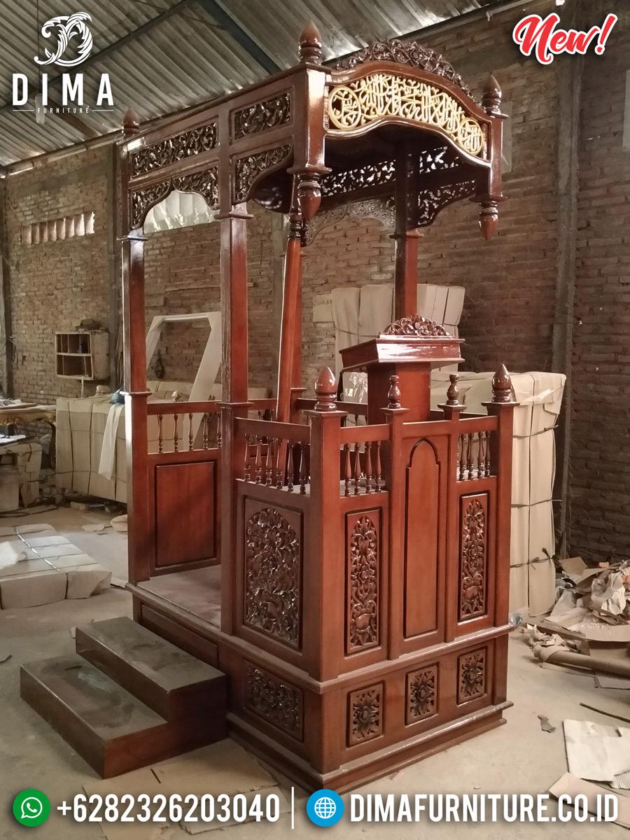 Mimbar Masjid Ukiran Jati Natural Luxury Classic Furniture Jepara MMJ-0859 Detail