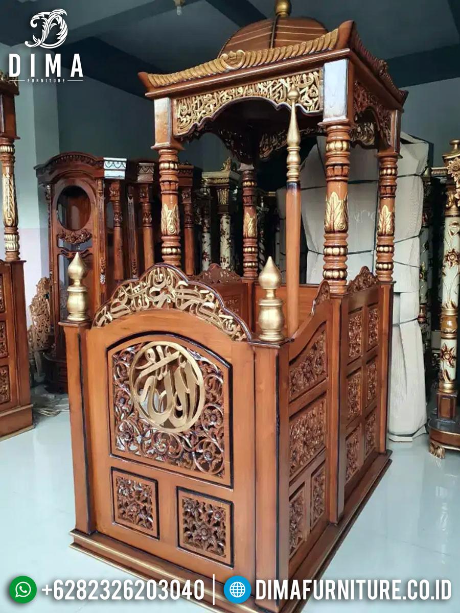 New Mimbar Masjid Jati Ukiran Arabian Muskhaf Luxury Carving Jepara MMJ-0840 Detail 1