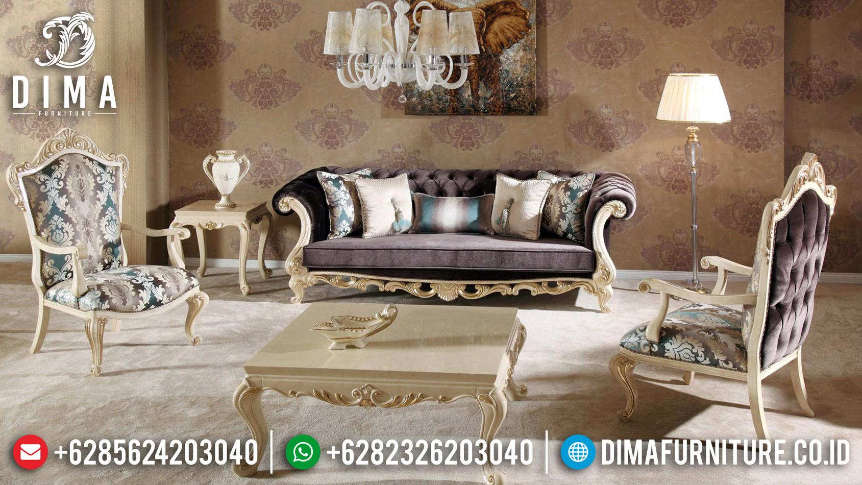 Sofa Tamu Mewah Jepara White Ivory Classic Luxury New Turkish Style MMJ-0835