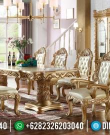 New Set Meja Makan Mewah Golden Ukir Jepara Terbaru MMJ-0921