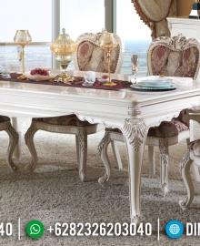 Set Meja Makan Jepara Mewah New Duco Ivory Classic Fortune MMJ-0923
