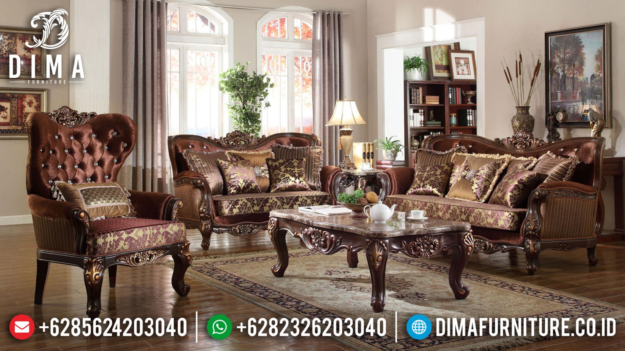 Set Sofa Tamu Klasik Jepara Ukiran Kayu Jati Natural Discount Sale MMJ-0940