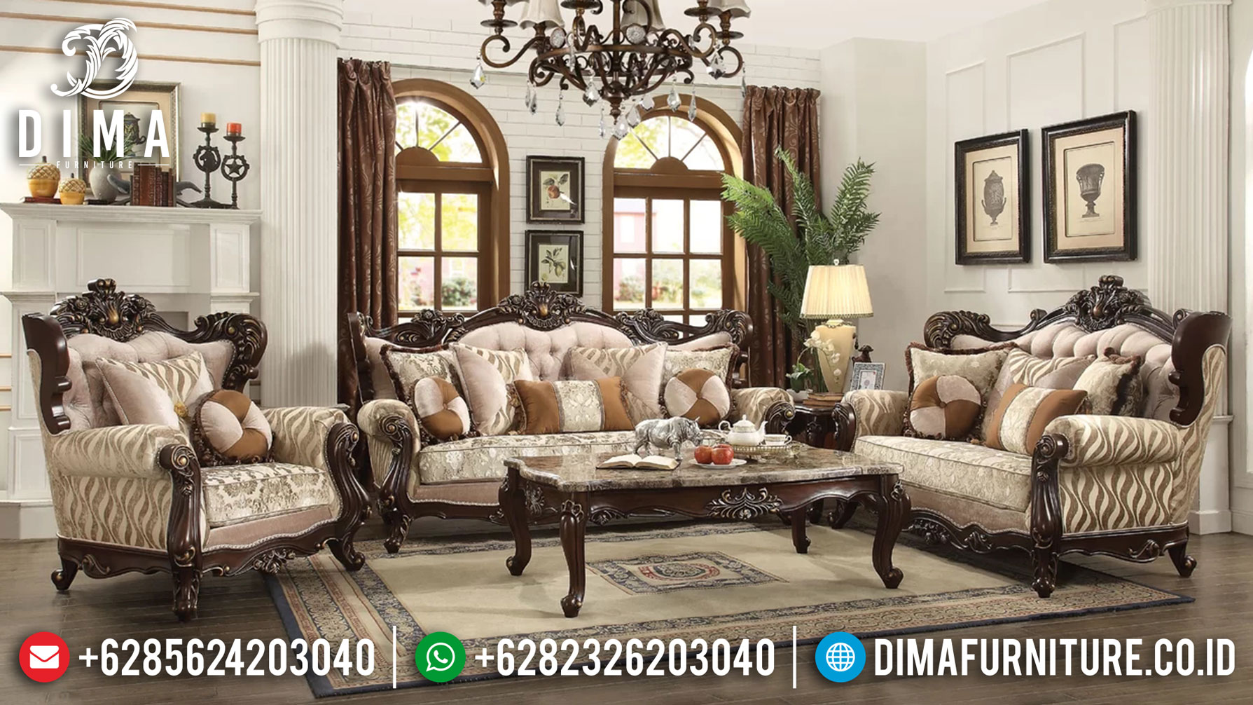 New Sofa Tamu Mewah Jati Jepara Ukiran Carmen Natural MMJ-0946
