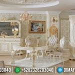 New Set Kursi Meja Makan Mewah Putih Gold Prada Indah MMJ-0951